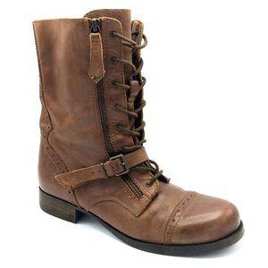 Aldo Marlen Cognac Brown Lace Up Combat boot